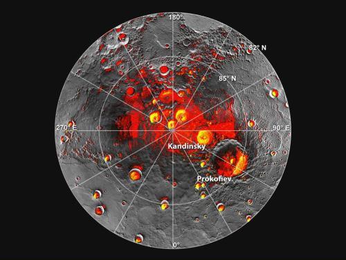 Mercur - cu rosu zone umbrite, cu galben depozite inghetate (foto: Nasa)