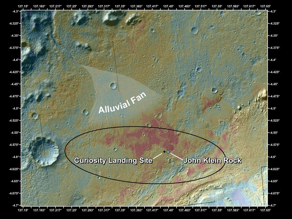 Aspectul zonei de aterizare si explorare a roverului Curiosity - foto: NASA