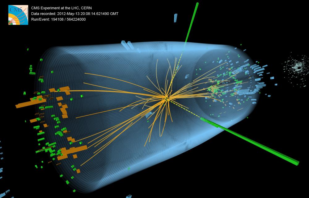 Ciocnirea a doi protoni genereaza o particula Higgs care se descompune la randul ei in 2 fotoni (liniile galbene intrerupte) Foto: CERN
