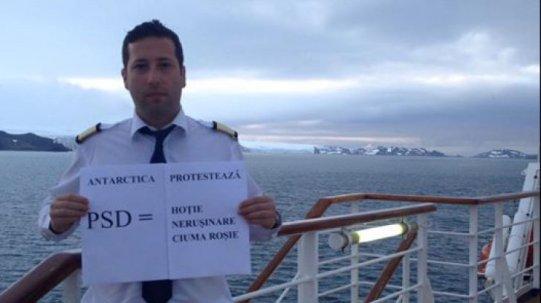 Pana si marinarii din Antarctica protesteaza fata de abuzurile PSD !